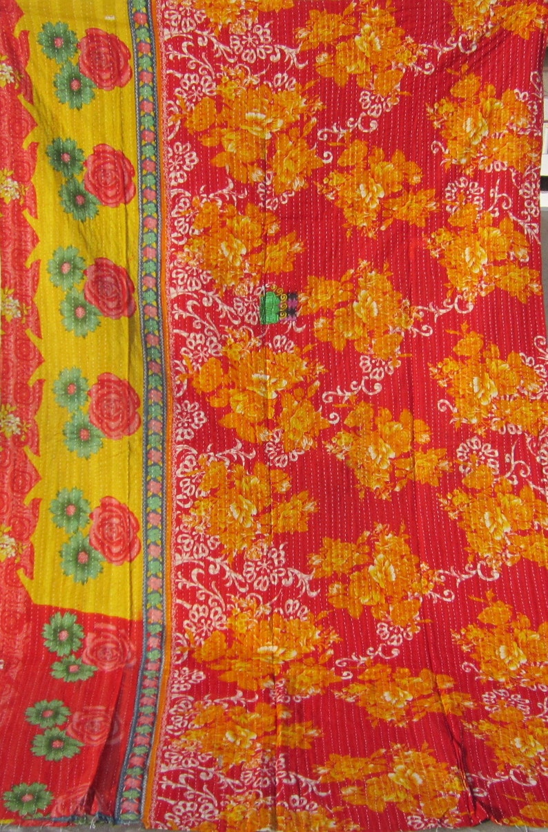 Indian Traditional Twin Size Reversible Vintage Kantha QuiltsArtisan Bohemain Multi Color Floral  Throw Ethnic One of Kind  41