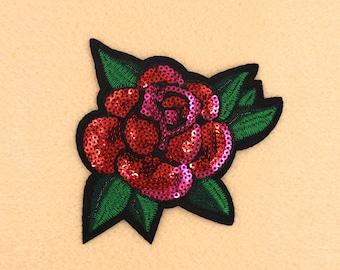 10.5\u201d Large Pink Red Green Sequin Rose Patch Embroidered Rose Flower Iron on Patch DIY Shirt Handbag Jacket