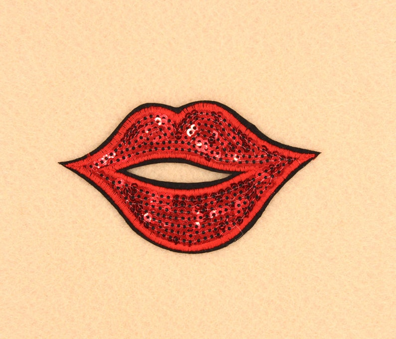 Lip Patch Sequin Patch Iron on Patch DIY Patch Embroidered Patch Applique Embroidery 8.5x5cm