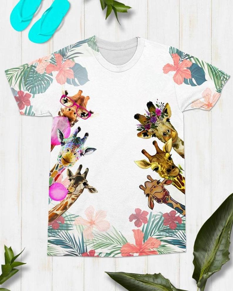 f7bc9324 Giraffe All over print T-Shirt 3D shirt Women's T-shirt   Etsy
