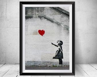 Banksy Print, Red Balloon Girl Print, Banksy Graffiti Art, Banksy Art, Banksy Painting, Banksy Wall Art, Banksy Poster, Street Art Printable