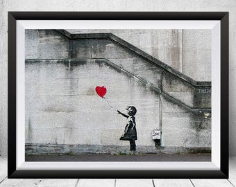 Red Balloon Girl Print, Banksy Poster, Banksy Print, Banksy Wall Art, Banksy Graffiti Art, Banksy Art, Banksy Painting, Street Art Printable