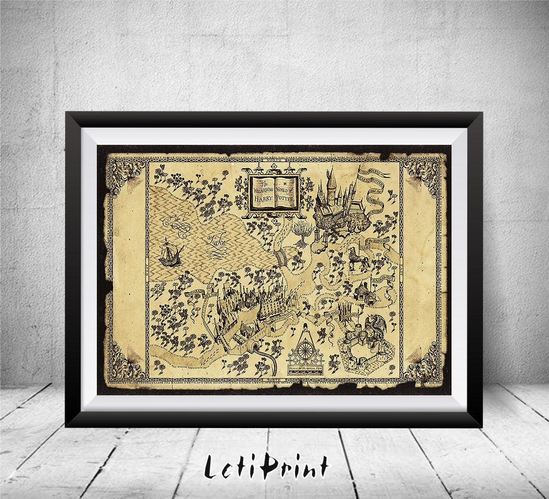 The Wizarding World of Harry Potter Map Harry Potter Print