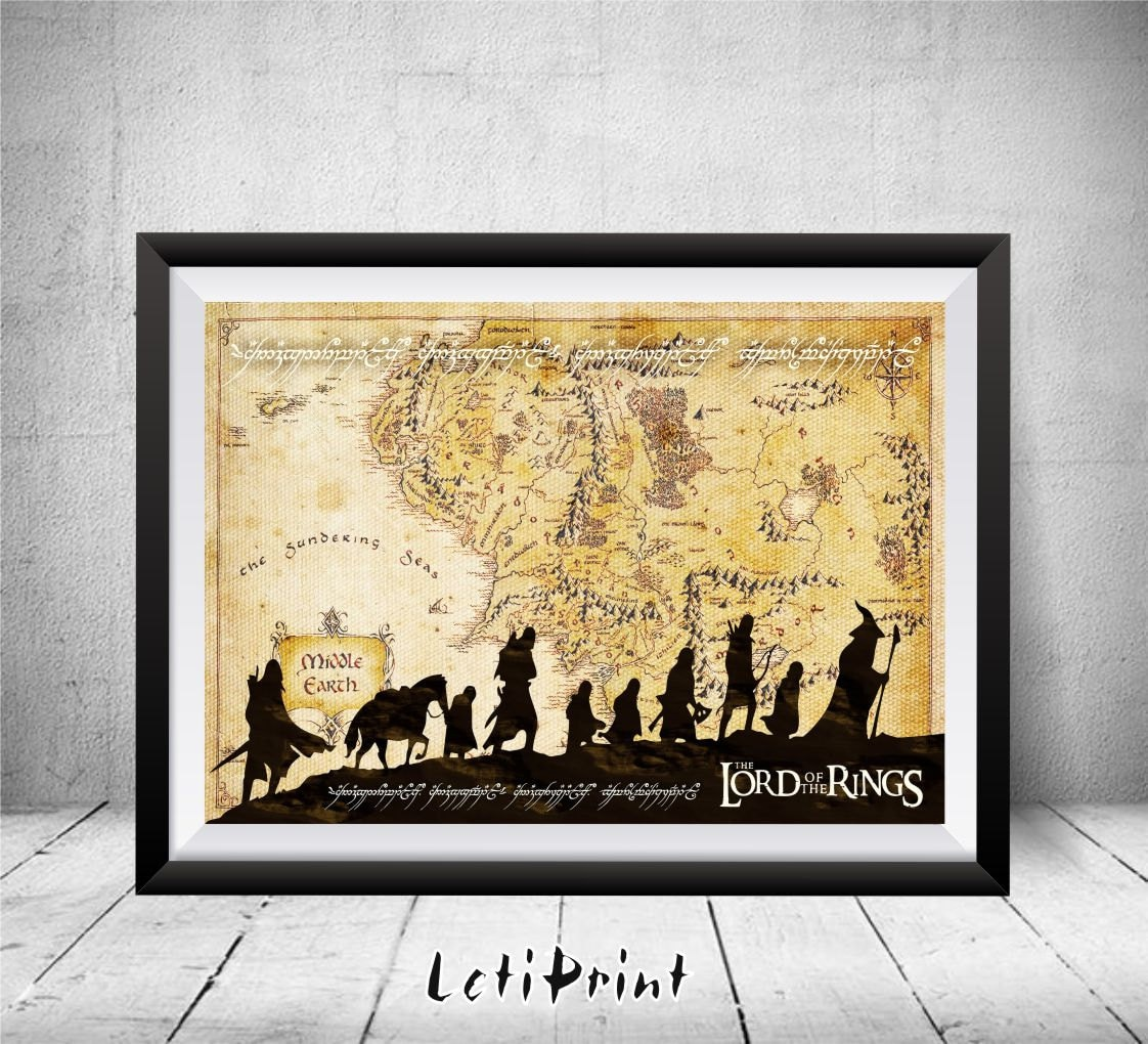 Lord of the Rings Print Middle Earth Print Middle Earth Map | Etsy