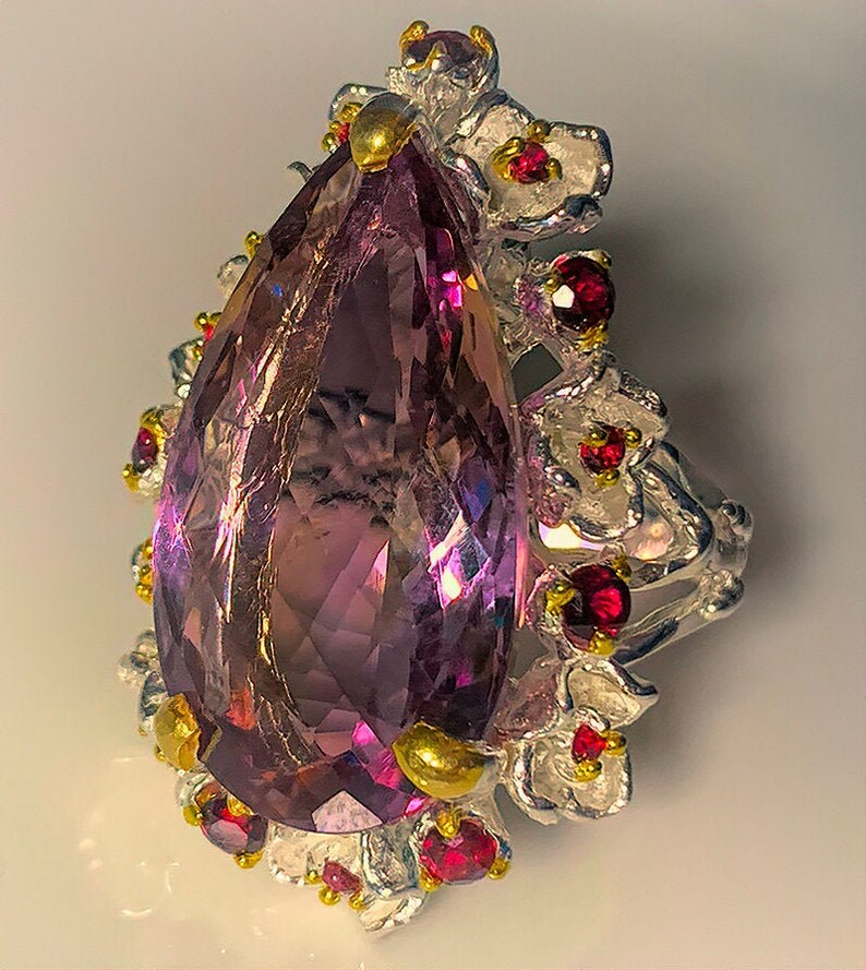 French Candy' Ametrine Rhodolite Garnet Gold and Silver image 0