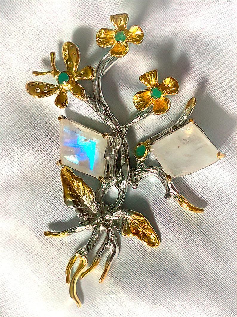 Moonstone Emerald Pendant 14kt Gold Sterling Silver  Brand image 0