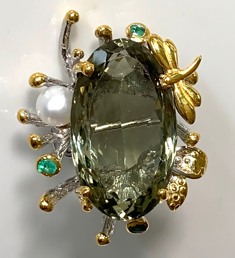 Dragonfly Green Amethyst Emerald Pendant Brooch  Brand new image 0