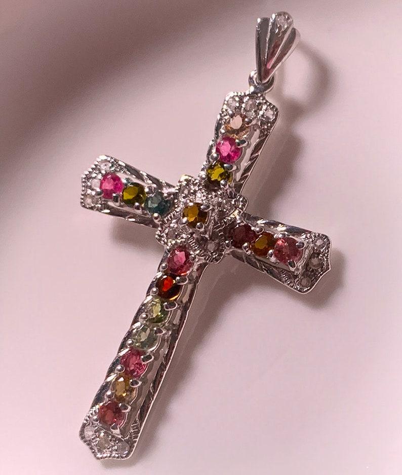 A large beautiful Tourmaline Topaz Cross  .925 Sterling image 0