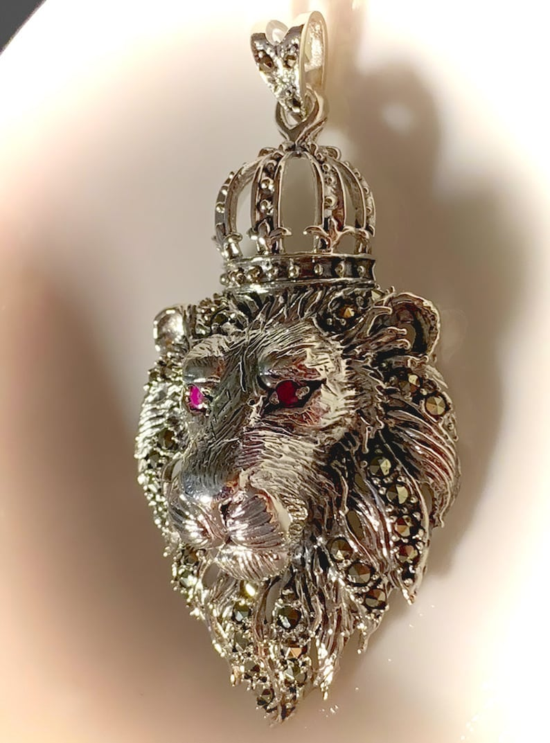 Magnificent Large Lion Pendant  Sparkling Marcasite and Ruby image 0
