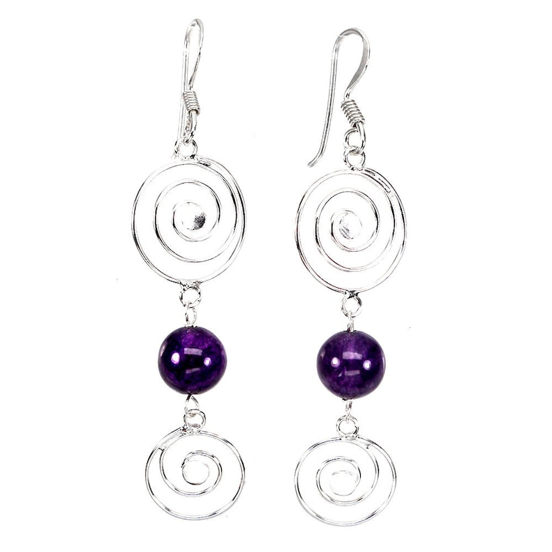 Spiral of Life Amethyst Sterling Silver Earrings image 0
