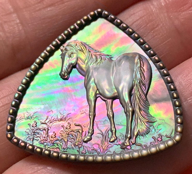 Mother of Pearl Horse Carved Cameo Shell with Rainbows image 0