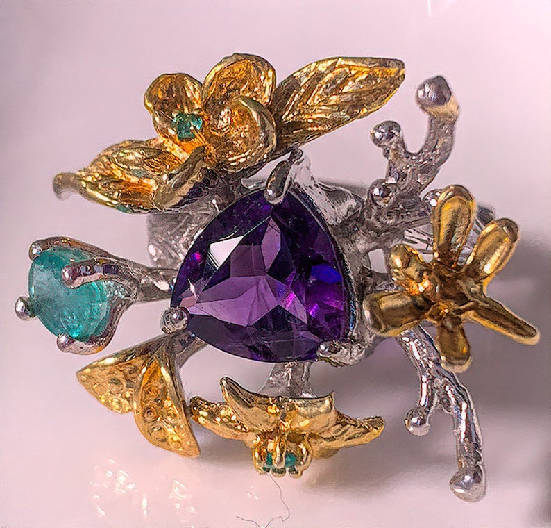Dragonfly Forest' Amethyst Emerald  14ct Gold over .925 image 0