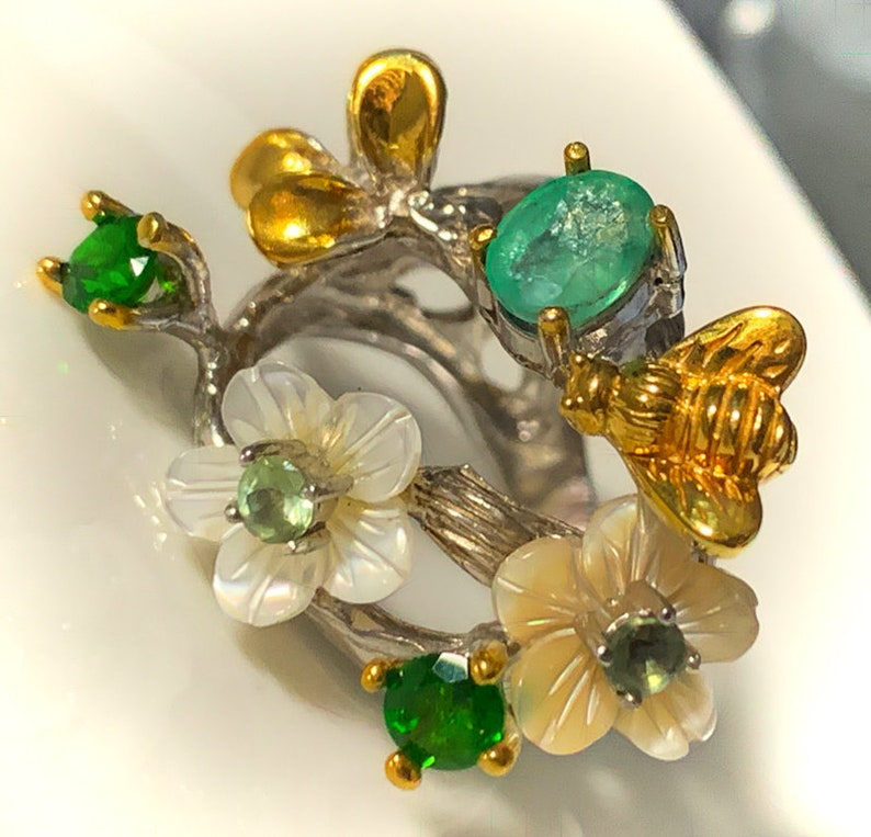 Emerald Sapphire MOP Gold Bee Sterling Silver Ring image 0