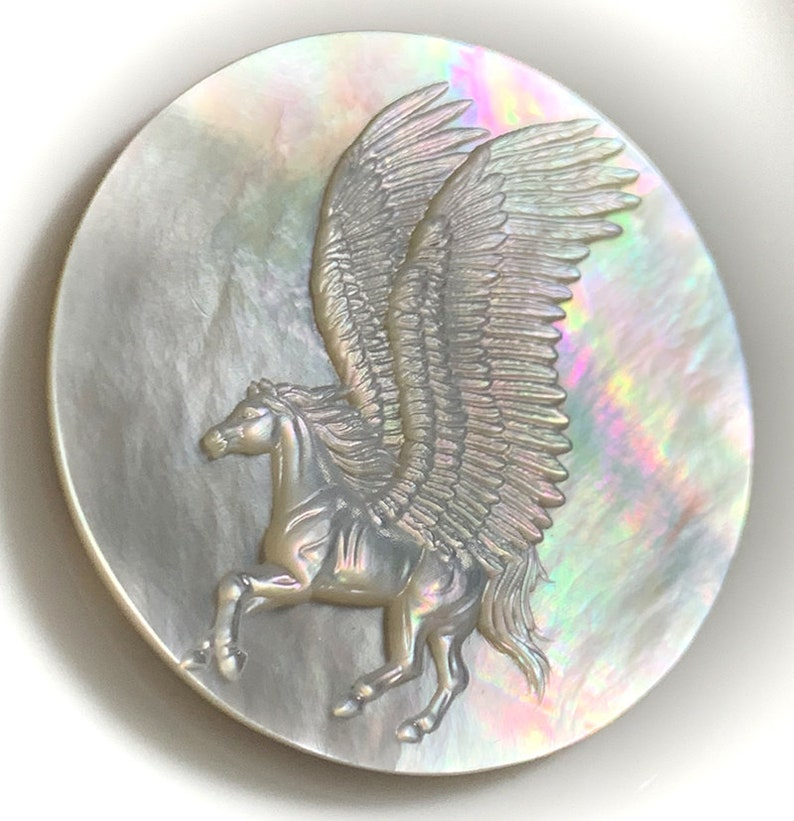 Mother of Pearl Pegasus Carved Cameo Shell with Rainbows image 0