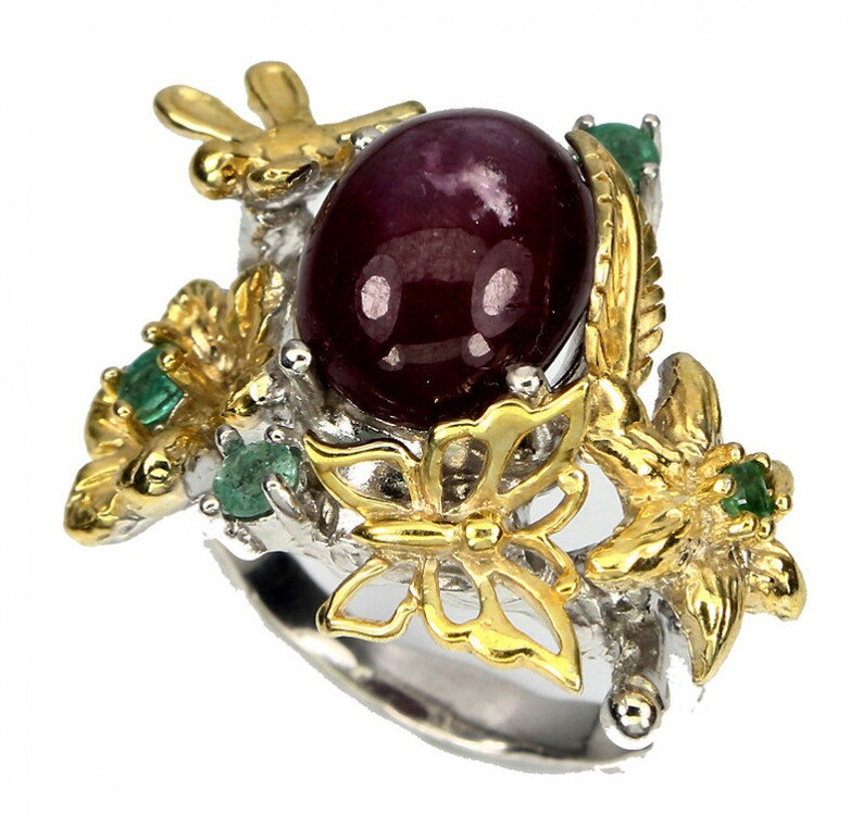 A Ruby Opal Emerald Hand Made Flower 14kt Gold over Sterling image 0
