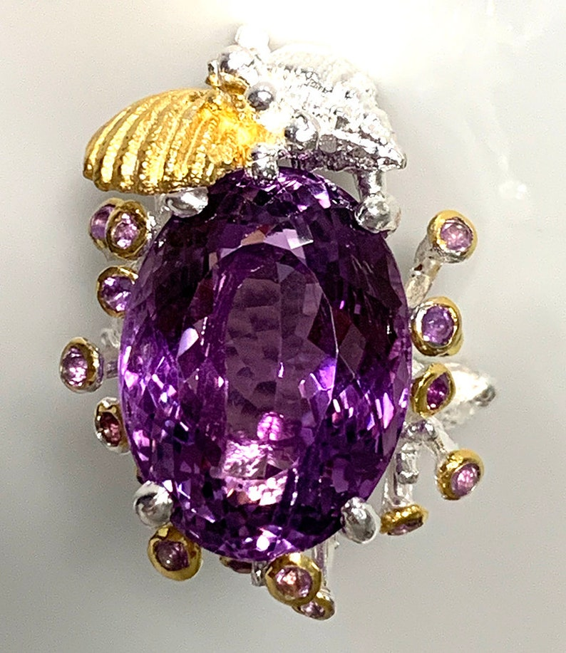 Superb Large Amethyst Gold and Silver Ring Size 8 with Shells image 0