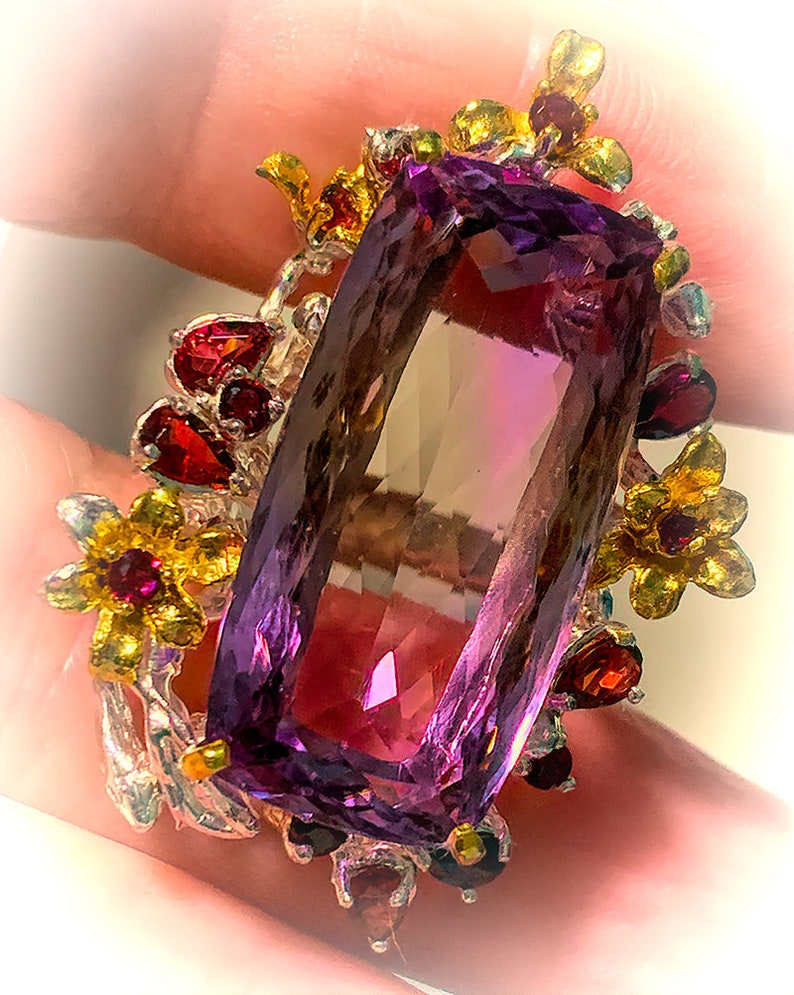 Solstice Majesty'  Ametrine Rhodolite Garnet Gold and image 0