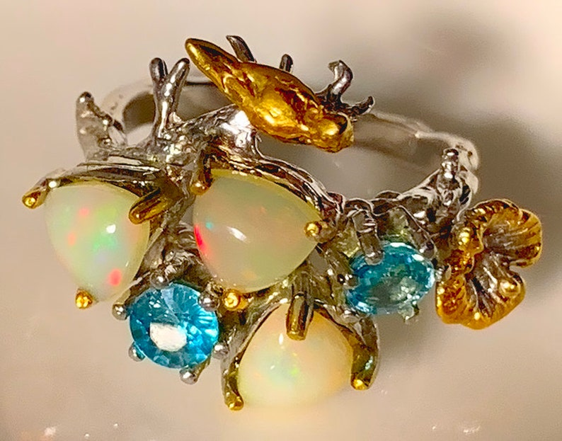 Opal Zircon Gold Bird Sterling Silver Ring  wonderful colors image 0