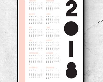 2018 PEACHY KEEN CALENDAR / 11x17 Wall Art Print