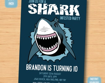 Shark invitation Etsy
