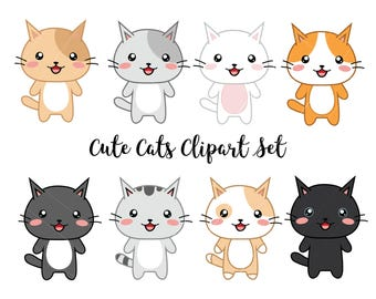 kawaii cat clipart etsy rh etsy com clipart cats for free clip art cats and kittens for coloring