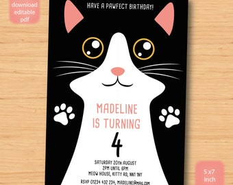 Instant Download Personalised Cat And Kitten Birthday Party Etsy