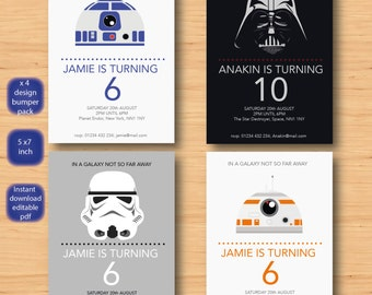 Star Wars X 4 Invitations Set