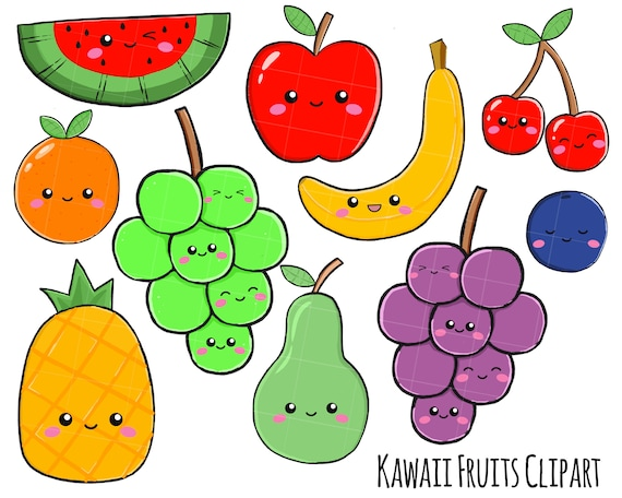 Vector Clipart Kawaii Fruits Cute Fruits Clipart Set Etsy