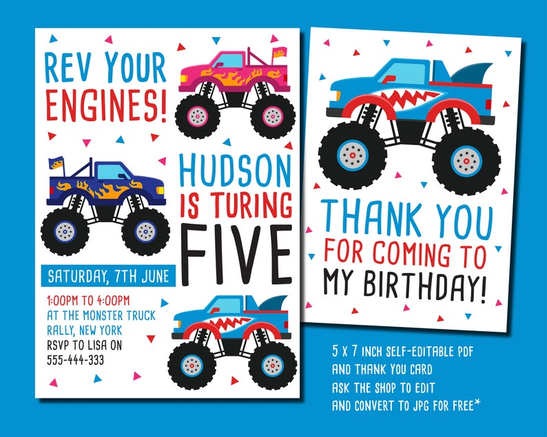 photograph regarding Monster Truck Birthday Invitations Free Printable identified as Monster Truck Birthday Occasion Invitation, 5 x 7 inch monster truck invite, self-editable pdf social gathering invite, racing invitation, car or truck invite