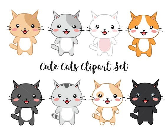 vector clipart kawaii cats cute cats clipart set high rh etsy com cute cat clipart free cute cat clipart with sayings