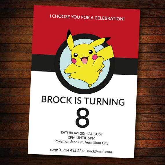 Personalised pokemon invite SELF EDITABLE PDF 5 x 7 inch