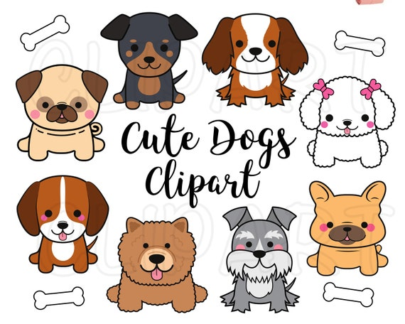 Dogs Clipart Dogs Clip Art Cute Puppy Clipart Kawaii Dogs Etsy