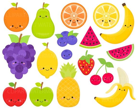 Cute Fruit Kawaii Fruit Clipart Strawberry Apple Etsy