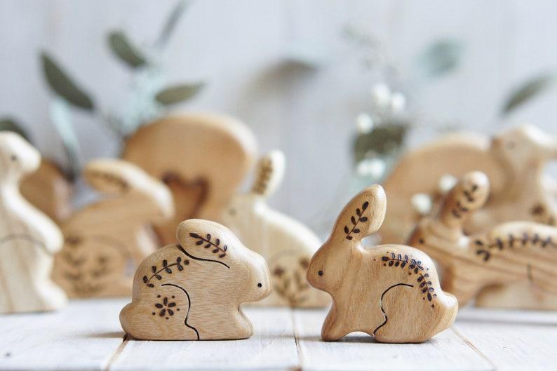 Wooden bunny toy. Woodland animals. Waldorf rabbit toy