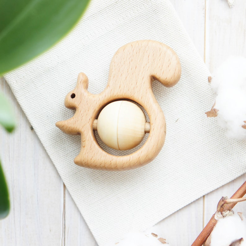 Traditional Wooden Rattle Teething Toy Squirrel  rattle Natural Wooden Infant Toy Eco Friendly Baby toy Newborn gift.