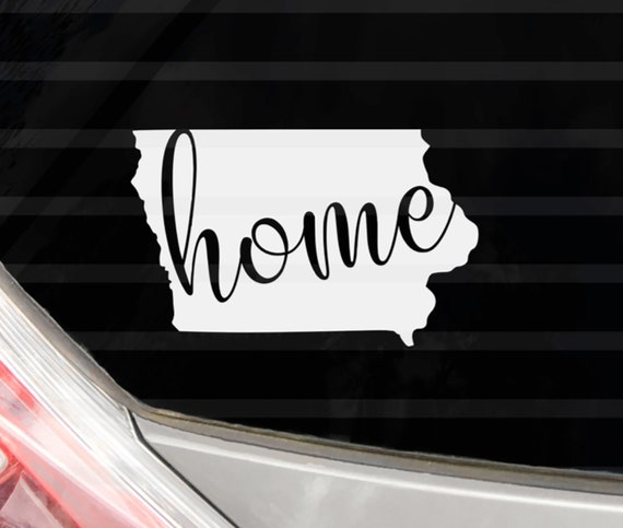 Custom Iowa Home Vinyl Decal Iowa State Yeti Cup Decal Water Bottle Sticker  Tumbler Decal Sticker Label Car Decal Phone Case Decal