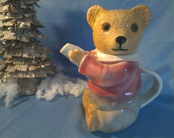 Vintage German Cocoa Can, teapot, Teddy bear, 1930ties, used condition