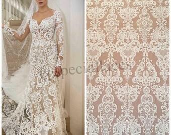 Venise lace fabric guipure lace white fabric wedding dress
