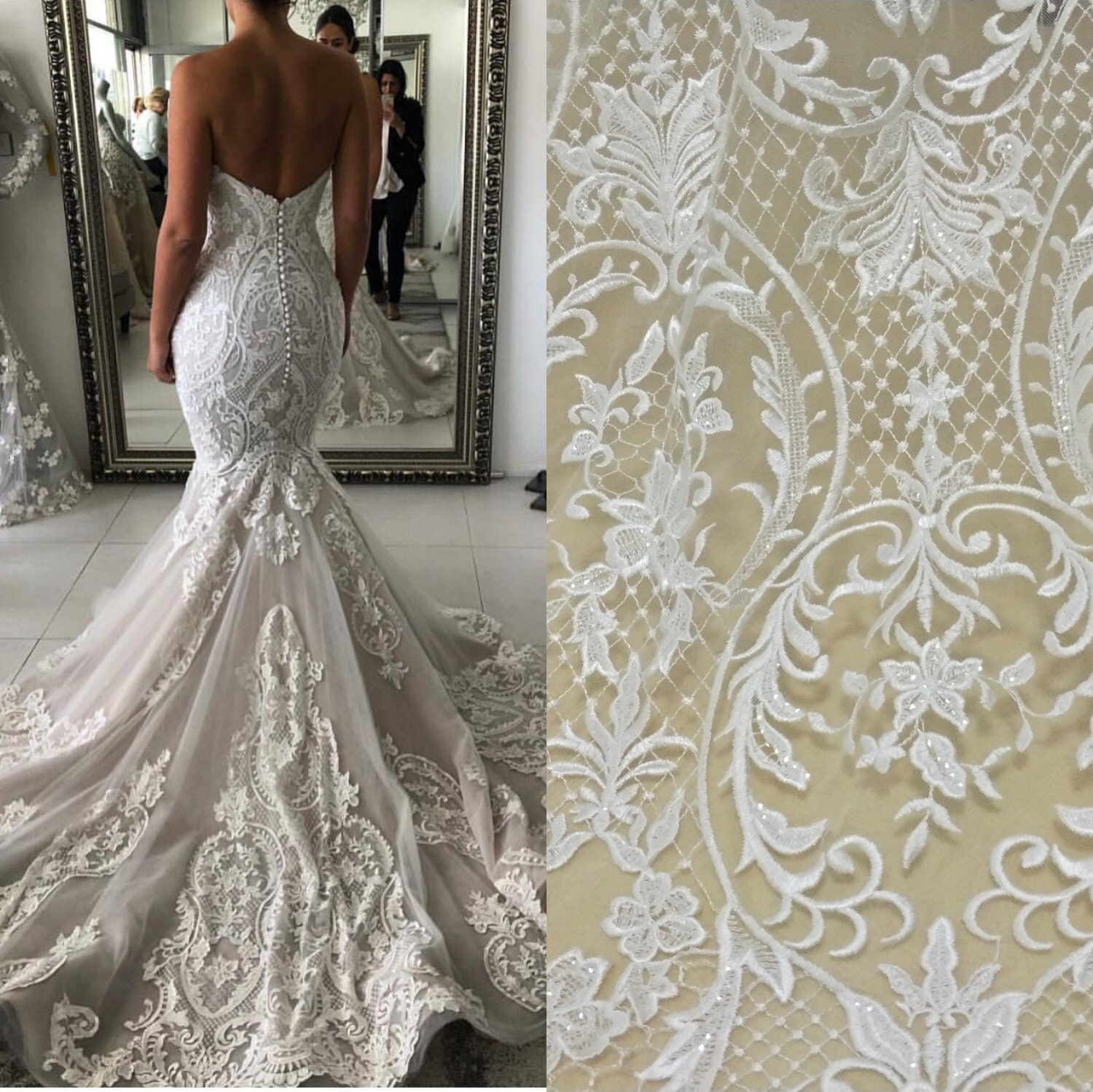 Wedding Gown Fabrics Guide: Fashion Wedding Lace Fabric Tulle Embrodery Lace Fabric