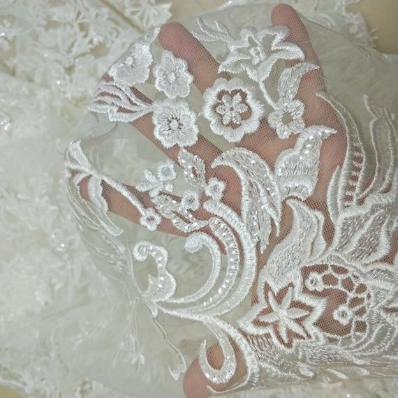 2019 nouvelle arrivée mariée robe de mariée dentelle 130cm de la largeur à la de mode paillettes tissu vendu par yard 4b58ac
