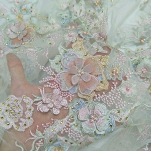 2019 Cute candy color motis fabric higher quality dress fabric beading flower lace for girl dress sell by yard