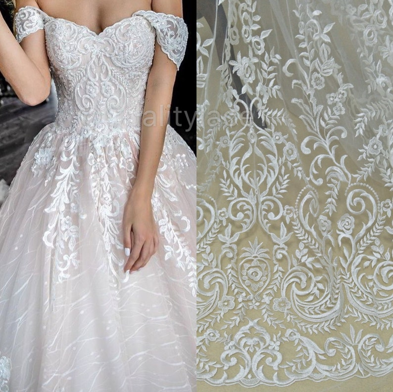 Newest Wedding Dress.2018 Vintage Wedding Lace Newest Bridal Dress Fabric Collection Ivory Lace Fabric Tulle Lace Guipure Lace Fabric For Wedding Dress