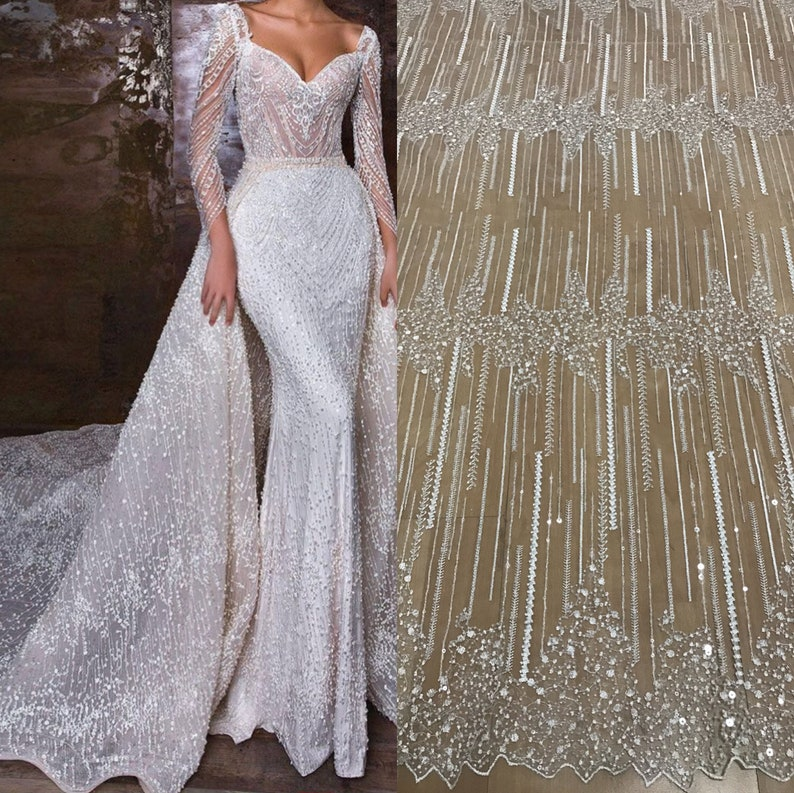 b738d323fa 2019 New collection fashion dress fabric with beads and sequins 130cm width  beading lace fabric guipure lace french lace fabric