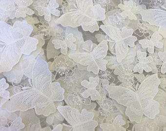 Latest design 3D butterfly lace fabric alencon french lace bridal fashion guipure embroidery lace fabric 1 yard minium order retail