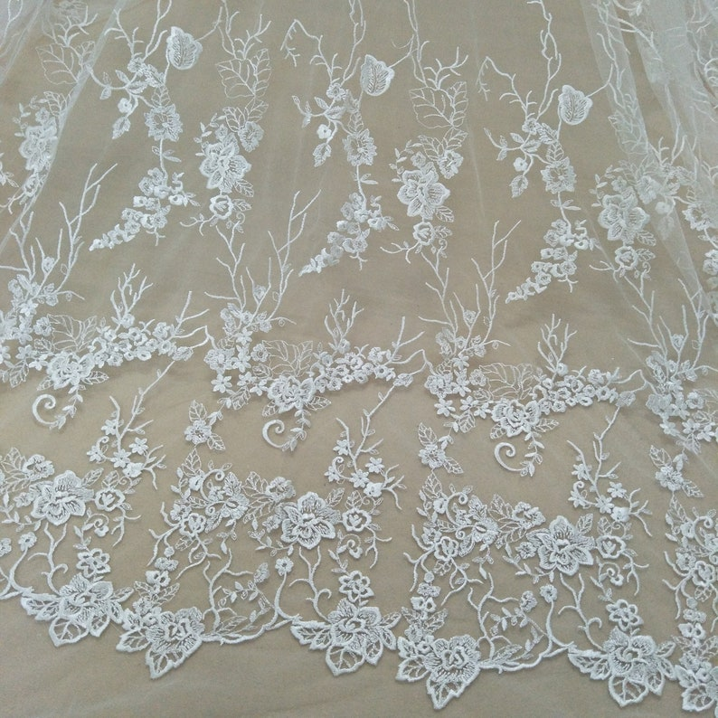 """1 yard Ivory Alencon Lace Fabric Tulle Tree Snow Flower Embroidery Veil 51/"""""""