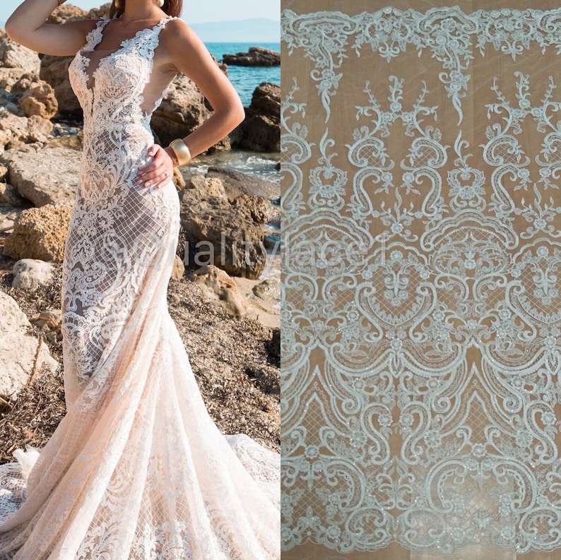 9e0d36e679 2019 New collection wedding lace fabric tulle lace with sequins organza  fabric guipure lace embroidery alencon lace for wedding dress