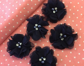 "2.5"" Navy Blue Chiffon Flower with Pearl and Rhinestone Center set of 5"