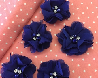 "2.5"" Royal Blue Chiffon Flower with Pearl and Rhinestone Center set of 5"