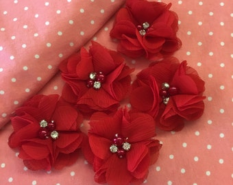 "2.5"" Red Chiffon Flower with Pearl and Rhinestone Center set of 5"