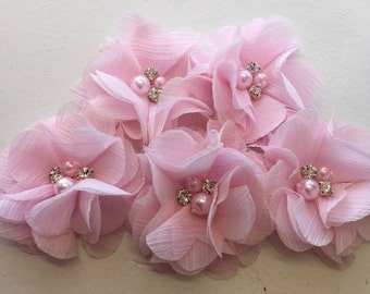 "2.5"" Blush Pink Chiffon Flower with Pearl and Rhinestone Center set of 5"